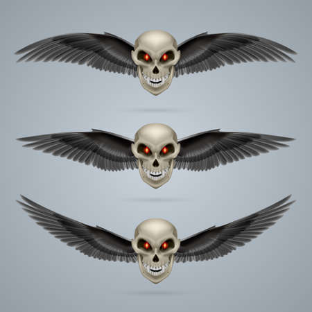 terrifying: Three terrifying mutant skulls with black wings