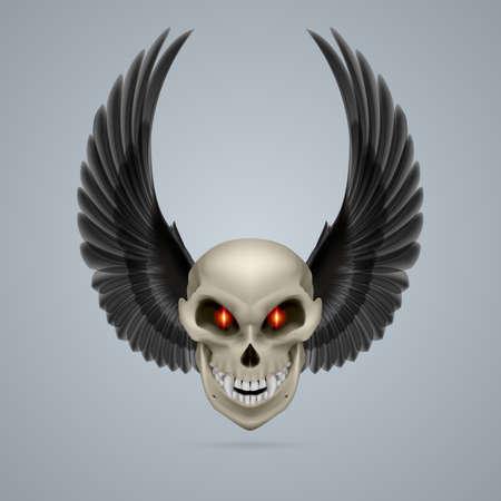 mutant: Evil looking mutant skull with raised black wings