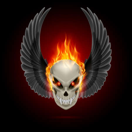 hard rock: Mutant skull with long fangs, orange flame and raised wings