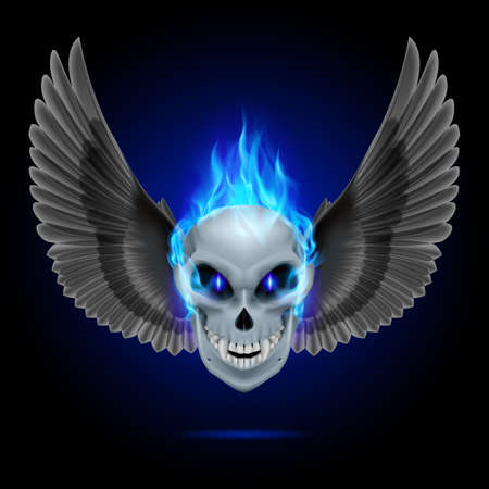 Mutant skull with blue flame and black wings Vector