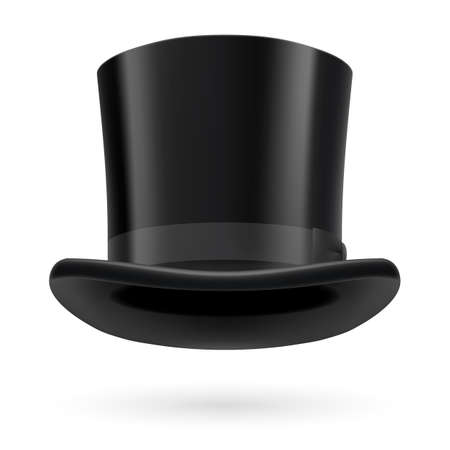a hat: Black top hat on the white background.