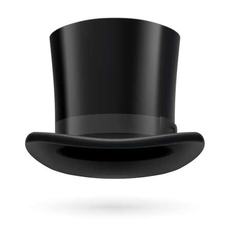 Sombrero de copa negro sobre el fondo blanco. Foto de archivo - 29389466