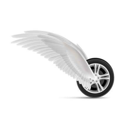 angel white: Car wheel with white angel wings for your design