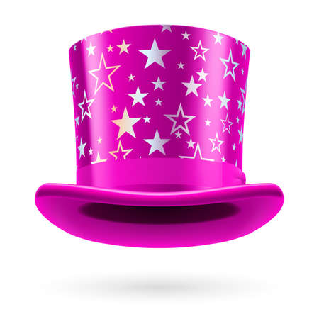 figuration: Pink top hat with white stars on the white background.