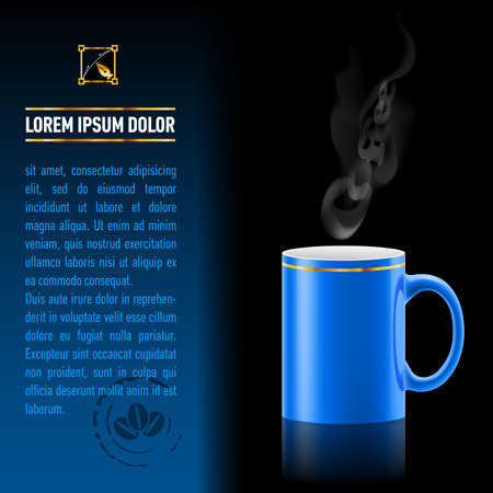Blue cup of coffee stay on black background. Next sheet of paper with the test Vector