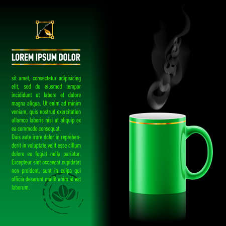 Green cup of coffee stay on black background. Next sheet of paper with the test Vector