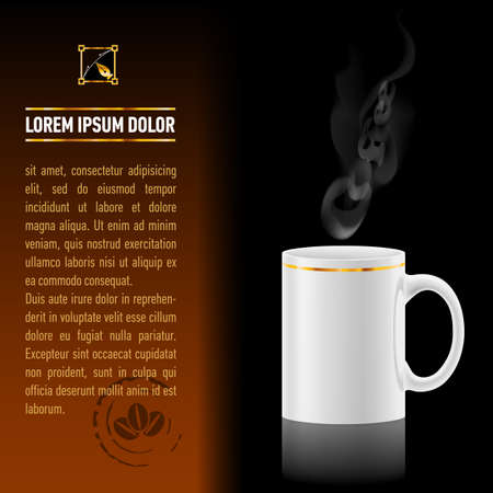 kitchen studio: White cup of coffee stay on black background. Next sheet of paper with the test Illustration