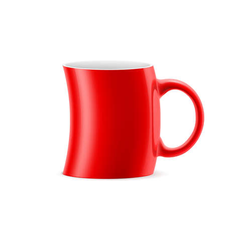 kitchen studio: Red       curve cup of something is on white background Illustration