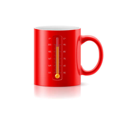 Red cup with a built-in thermometer on white background Vector