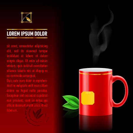 Red cup of tea spewing hot steam. Green leaf tea. Next sheet of paper with the test Vector