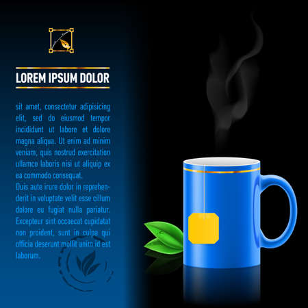 Blue cup of tea spewing hot steam. Green leaf tea. Next sheet of paper with the test Vector