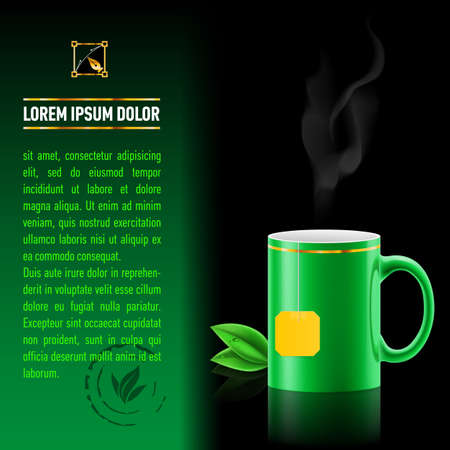 Green cup of tea spewing hot steam. Green leaf tea. Next sheet of paper with the test Vector