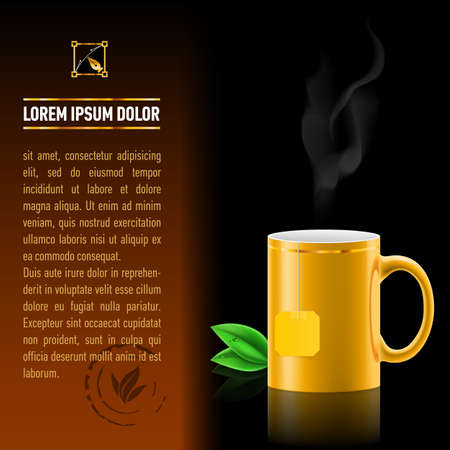 Orange cup of tea spewing hot steam. Green leaf tea. Next sheet of paper with the test Vector