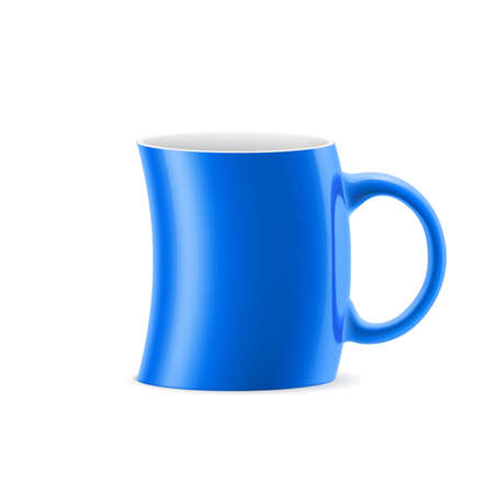 kitchen studio: Blue curve cup of something is on white background
