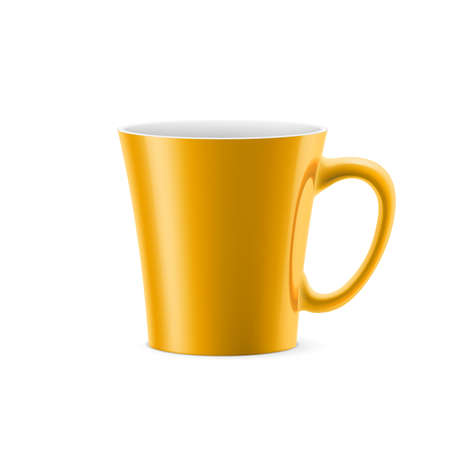 kitchen studio: Orange cup with tapered bottom stay on white background