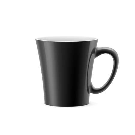 Black cup with tapered bottom stay on white background Illustration