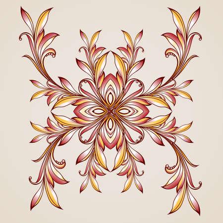 Flower. Floral pattern on light beige background Vector