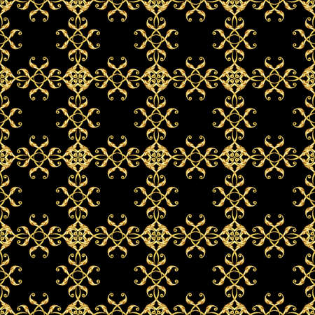 Seamless floral pattern in Asian style. Ornament in golden shades on black background