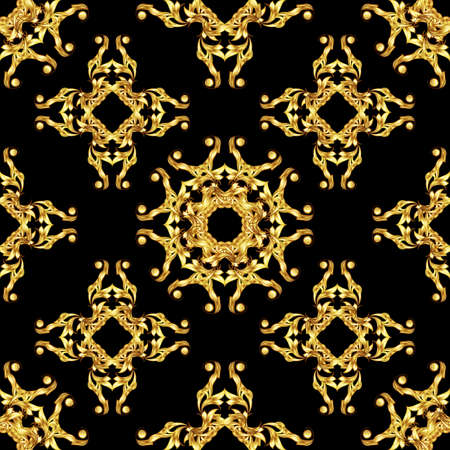 Seamless floral pattern in golden shades on black background. Asian style ornament Illustration