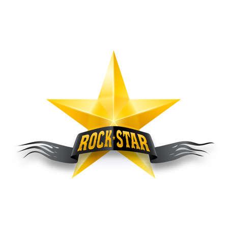 Golden star with black torn Rock Star banner. Illustration on white background Vector