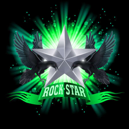 glister: Green Rock Star banner with two ravens over shining background Illustration