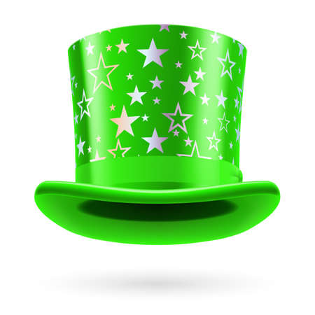 figuration: Green top hat with white stars on the white background.