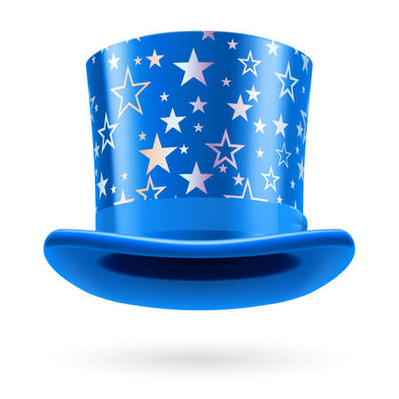 top hat: Blue top hat with white stars on the white background. Illustration