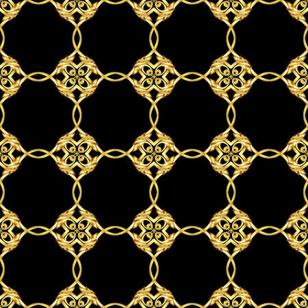 Seamless pattern in Asian style. Ornament in golden shades on black background Vector