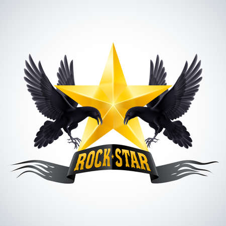 Rock Star banner in golden color with two ravens Vector