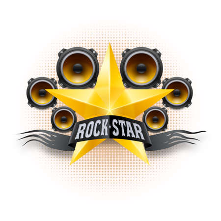 Rock star banner with golden star and acoustic speakers Vector