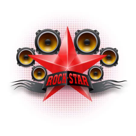 Rock Star banner in red color with acoustic speakers Illustration