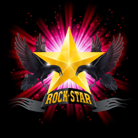 Golden Rock Star banner with two ravens over shining background Vector