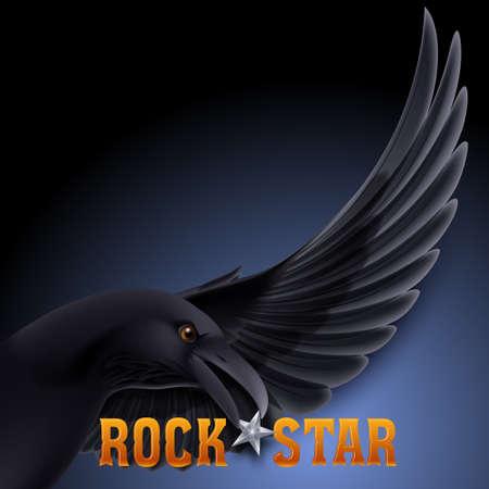beak: Rock star concept with raven holding star in its beak over dark blue background