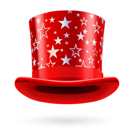 figuration: Red top hat with white stars on the white background.