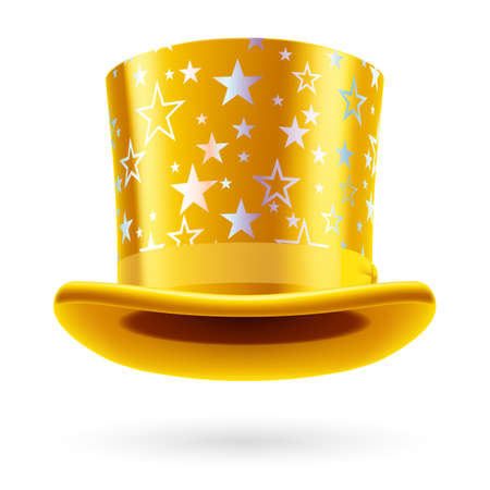 top hat: Yellow  top hat with white stars on the white background.