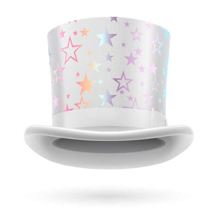 figuration: White top hat with white stars on the white background.