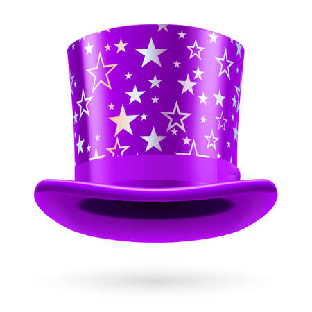 figuration: Lilac top hat with white stars on the white background. Illustration