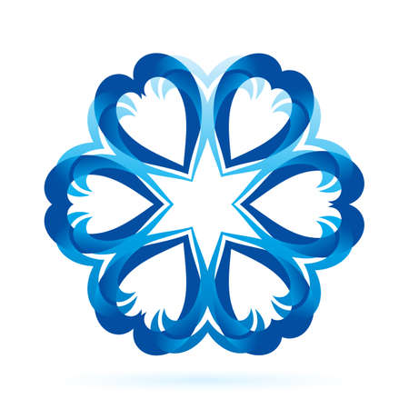 Abstract blue form in dark and ligh blue shades on white background. Flower or snowflake pattern Vector