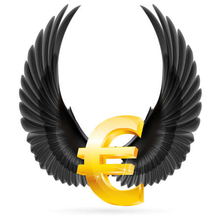 glister: Golden euro symbol with black raised up wings