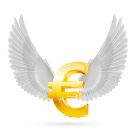 glister: Shiny golden euro symbol with white wings