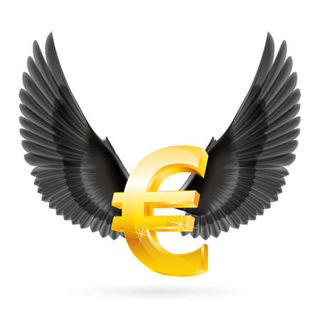 glister: Shiny golden euro symbol with black wings