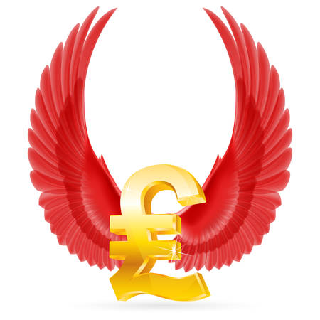 Golden Great Britain pound symbol with red raised up wings