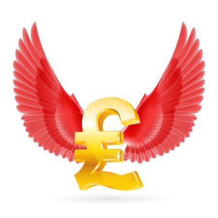 Golden Great Britain pound symbol with red wings Ilustração Vetorial
