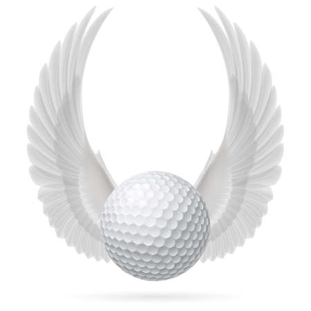 Golf ball with raised up white wings