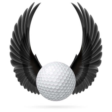 prestige: Golf ball with raised up black wings