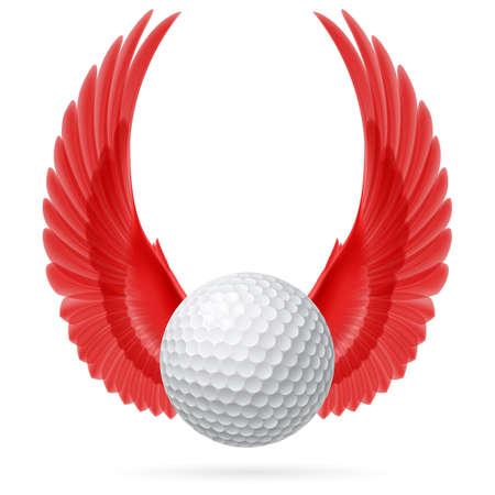 Sfera di golf con sollevate ali rosse