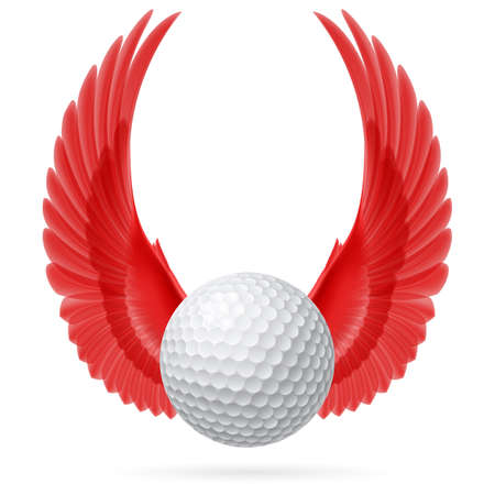 Golf ball with raised up red wings