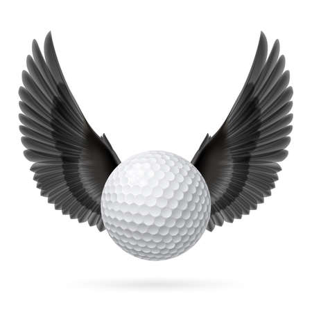 Realistic golf ball with black wings emblem