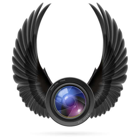 shutter aperture: Photo camera lens with raised up black wings