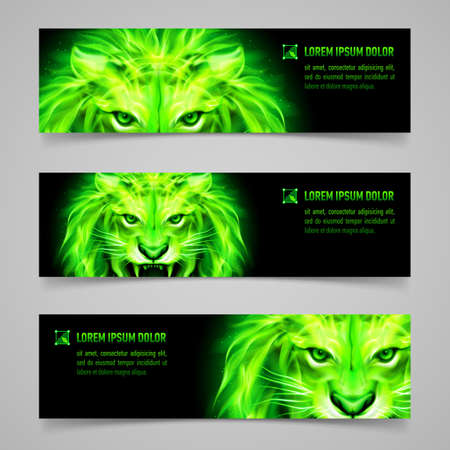 mystic: Set of banners with mystic lion in green flame